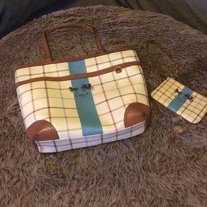 Vintage Coach Handbag with Matching Wristlet